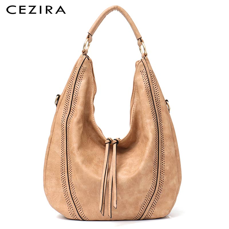 CEZIRA-حقيبة يد نسائية من جلد البولي يوريثان ، حقيبة كتف ناعمة ، مخرمة ، حقيبة حمل كبيرة مع سحاب شرابة