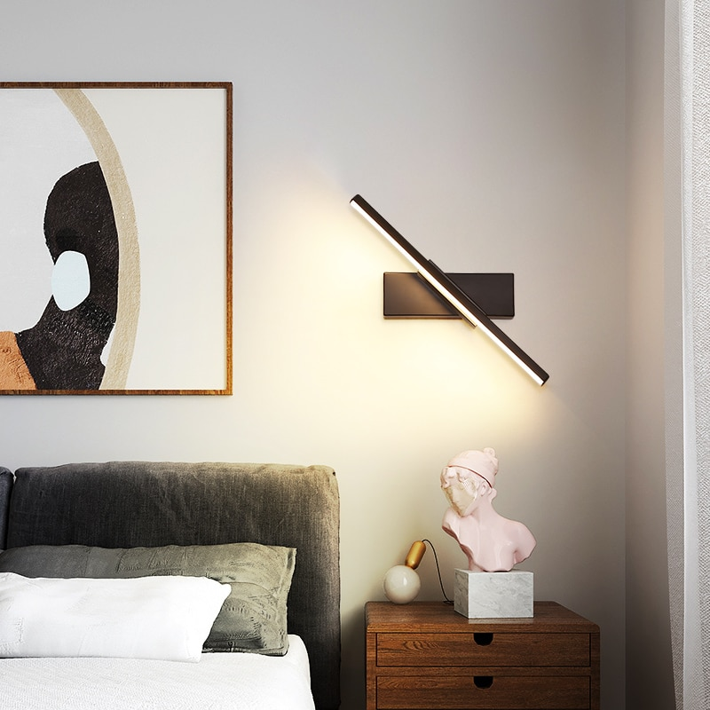 Lámpara LED de pared montada en personalidad para dormitorio, lámpara de noche interior, decoración moderna nórdica, aplique de iluminación giratorio para interiores