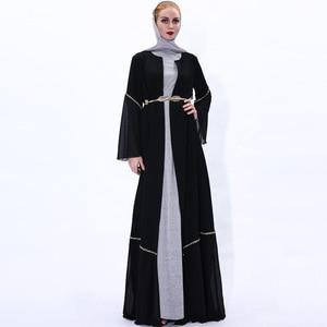 Wepbel Muslim Elegant Abaya Long Sleeve Outdoor Muslim Dresses Women's Gold Belt Cardigan Open Abaya Caftan Kimono