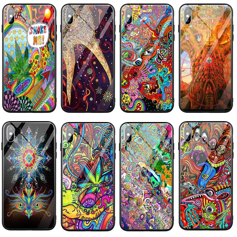 Trippy Hippie de templado de vidrio de bolsas de teléfono móvil TPU caso para iPhone X XR XS 11 Pro Max 8 7 Plus 6 6S Plus