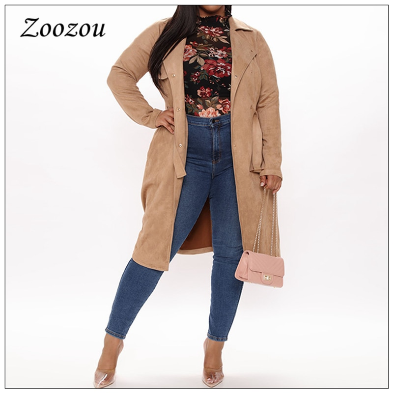 Camel Lapel Suede Leather X Long Coats Winter Casual Warm Women Trench Coat Retro Double Breasted Lady Overcoat Plus Size Custom enlarge