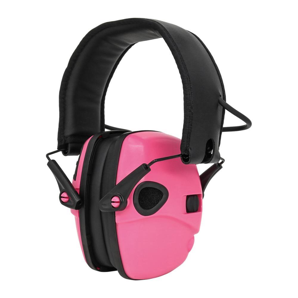 Складные тактические Электронные Наушники, уличная Защита слуха, шумоподавляющие наушники, тактические наушники для стрельбы, розовые