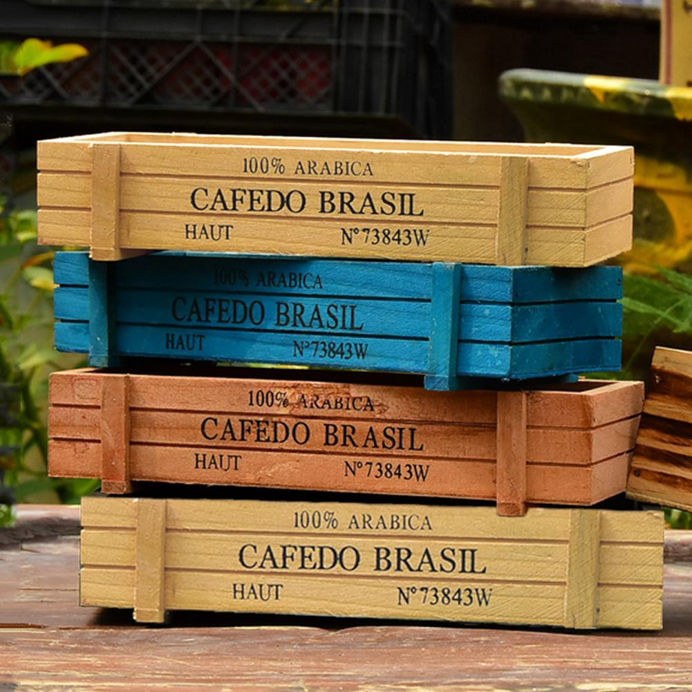 Винтажный горшок для садового растения, декоративный суккулентный плантатор, деревянные ящики, прямоугольник, стол, цветочный горшок, садовое устройство