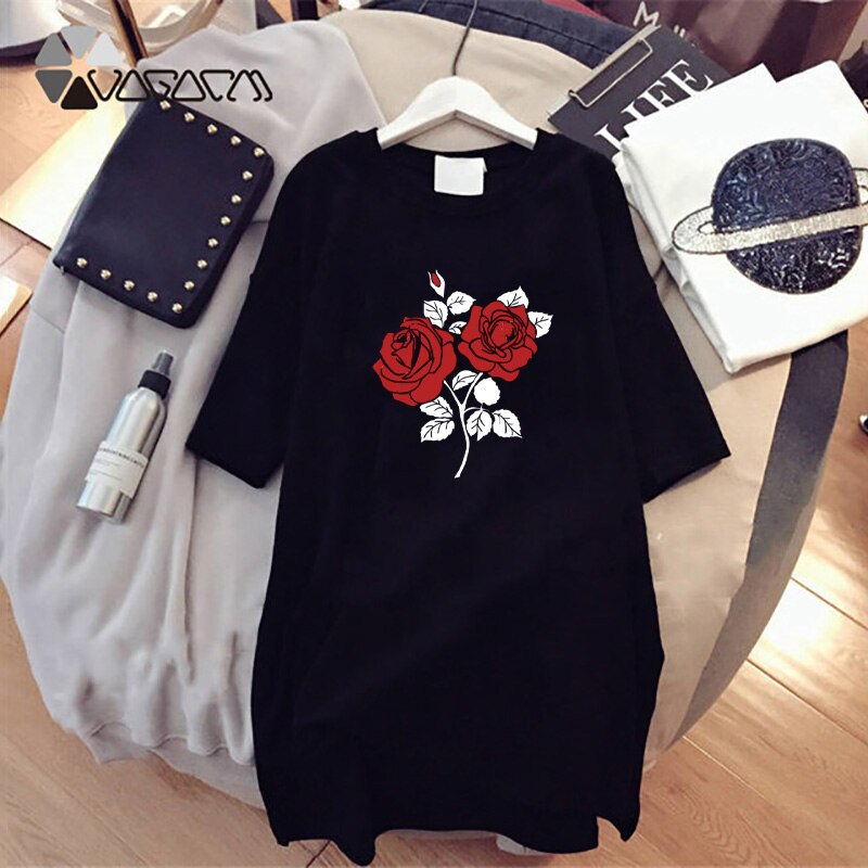 Summer Loose Women Harajuku Dress Flower Print Korean Plus Size Tshirt Dresses Short Sleeve O-Neck Robes Pullover Vestidos 2021