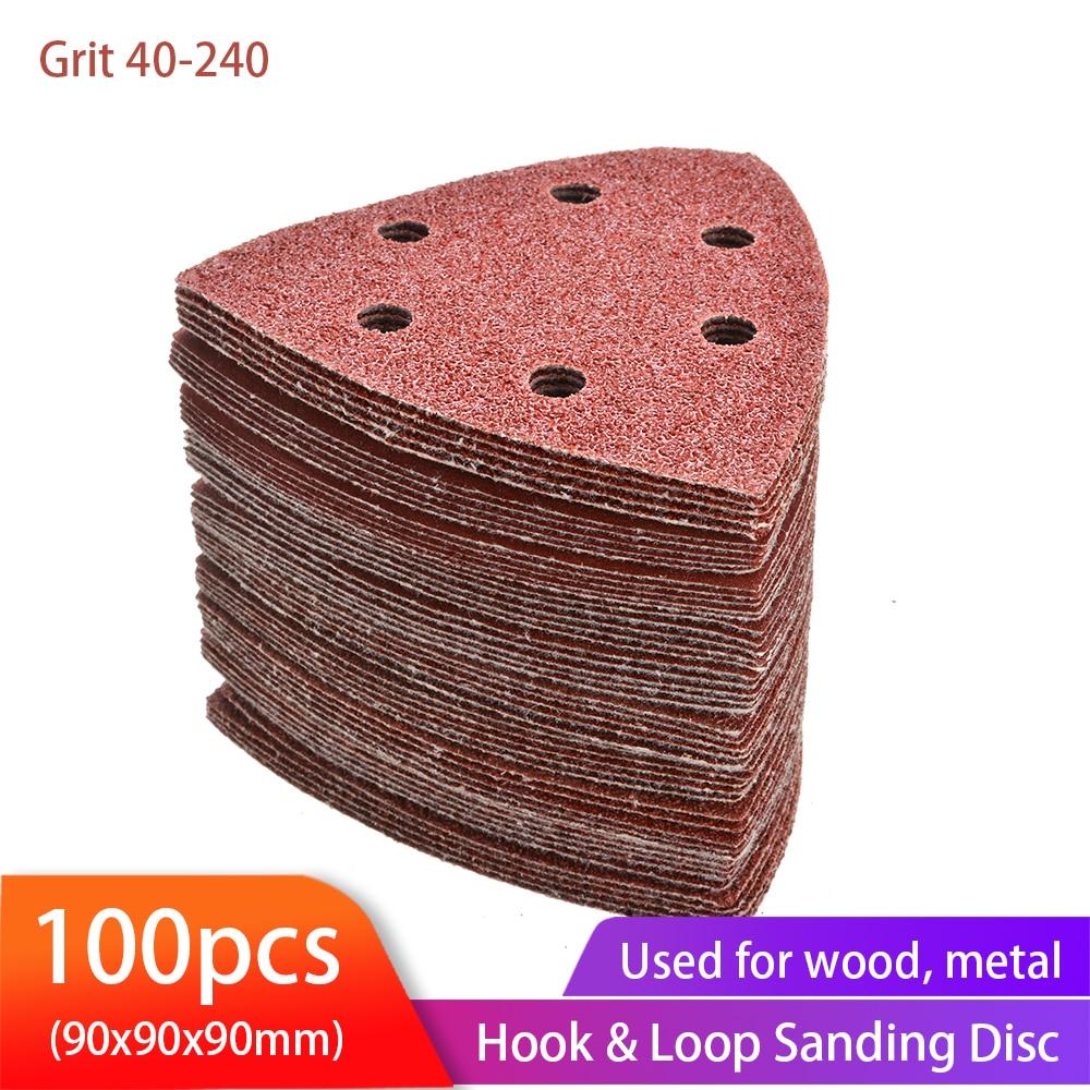 100PCS Triangular Sanding Disc 90mm Delta Sander Hook & Loop Sandpaper Abrasive Tools for Sanding Grit 40-2000