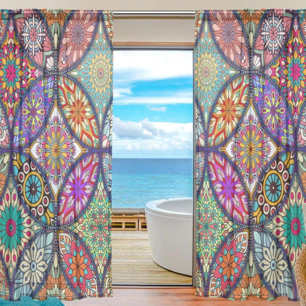 Colorido Mandala de Bohemia cortinas para la sala de 2 paneles de ventana de cortina de Voile cortina para el dormitorio