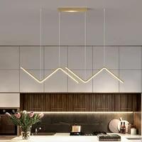 led modern simple chandelier restaurant bar blackgold long pendant lamp dining room coffee shop round rings hanging light