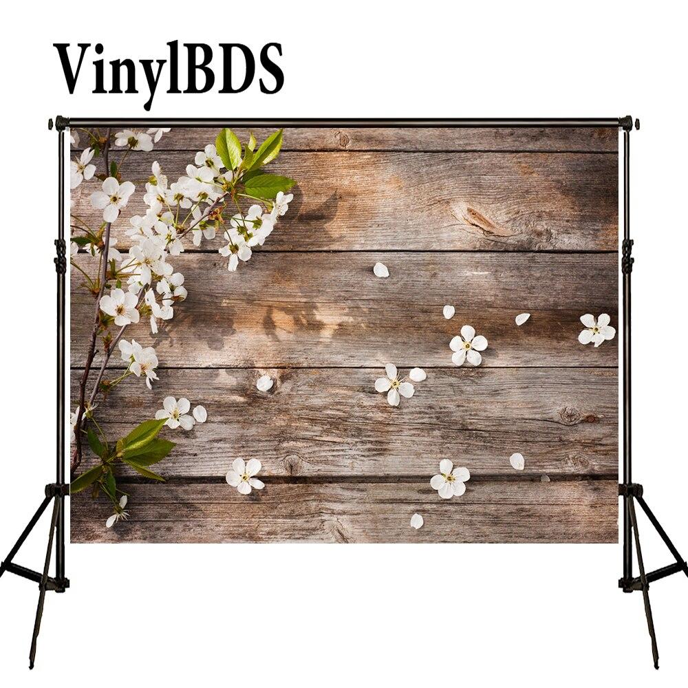 VinylBDS-Fondo de fotografía Para bebés, telón de madera Para pared, Flores, sesión...