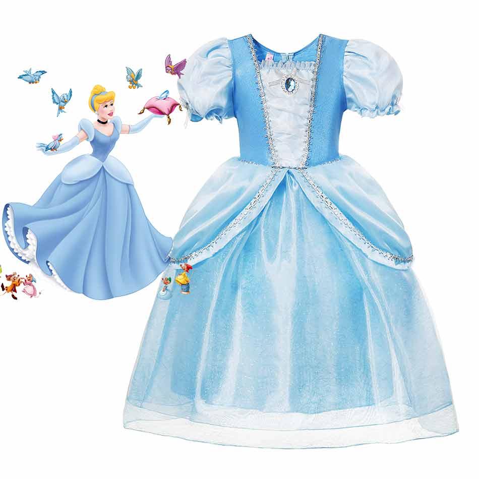disney fairy tale the little glass slipper costume for kids fancy princess cinderella dress girls wedding party blue ball gown