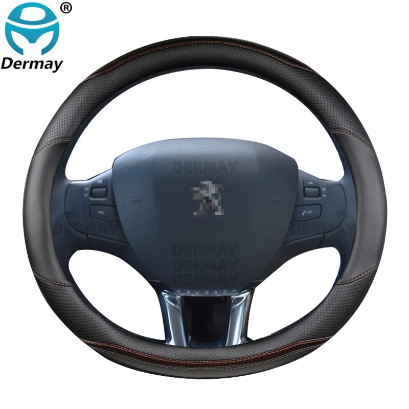 for Peugeot 208 2012~2018 Car Steering Wheel Cover Carbon Fibre + PU Leather High Quality Dermay Brand Auto Accessories interior