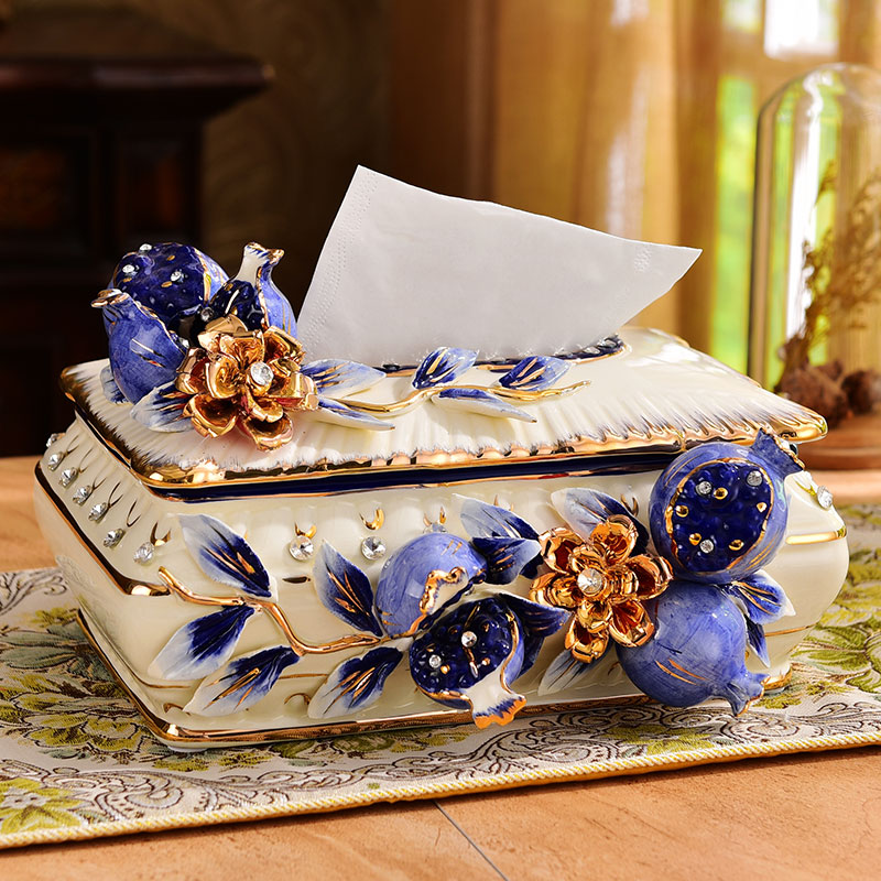 European Luxury Tissue Box Ceramic Living Room Creative  Tissue Boxes Table Accessories Boite A Mouchoir Home Storage DF50ZJH