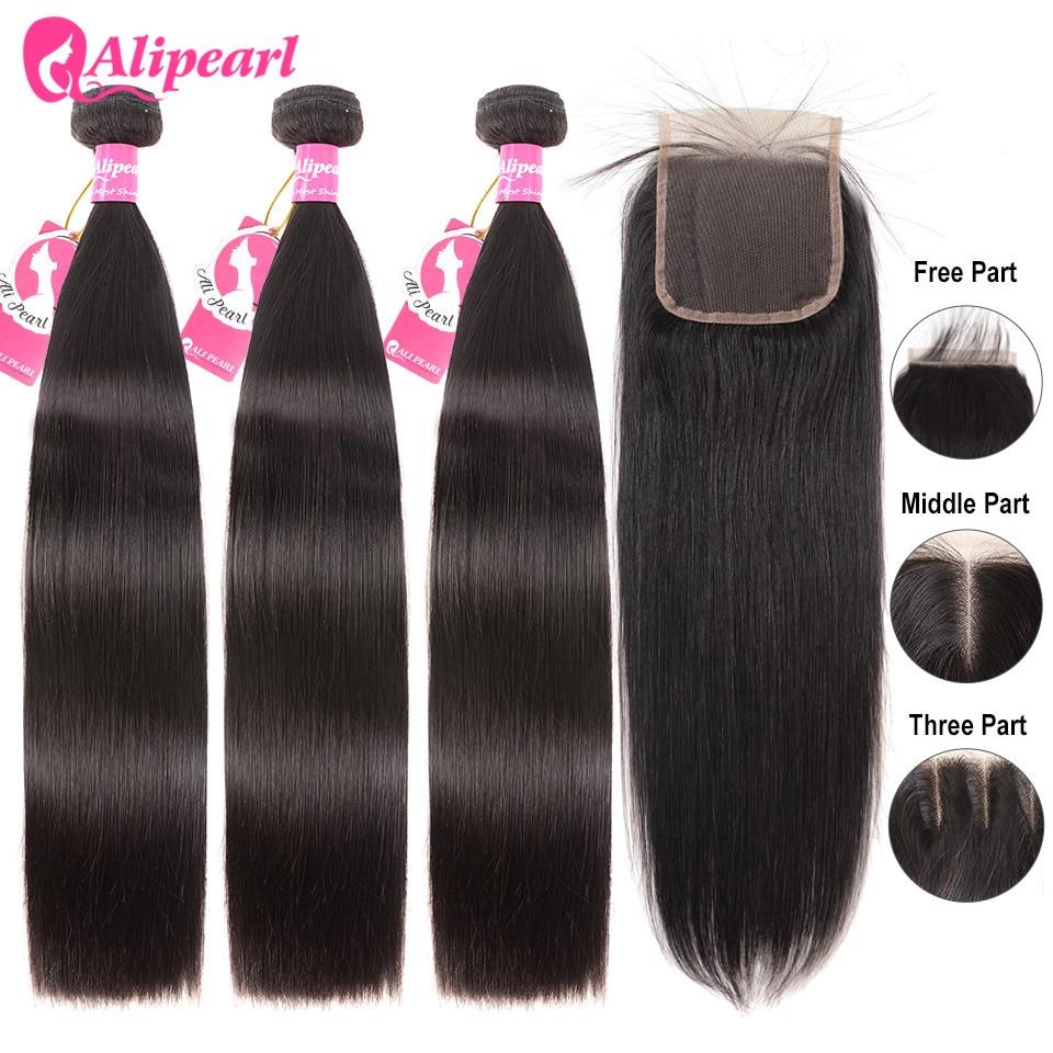 Tissage de cheveux brésiliens naturels-AliPearl Hair   Mèches de cheveux 100% naturel, avec Lace Closure 4x4, Extension de cheveux, lisses, 3 lots