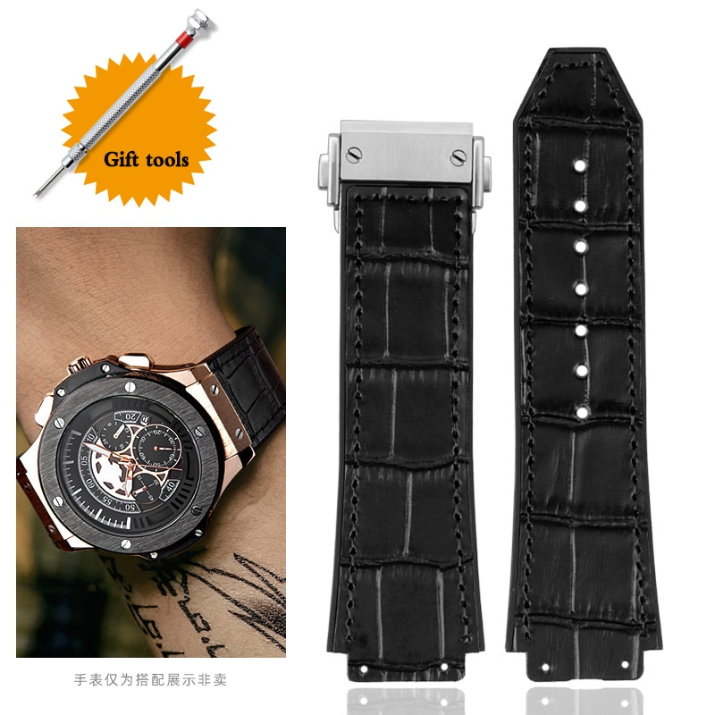 25*19mm Real Cow Leather Rubber Watchband for HUBLOT Classic Fusion Universe Big Bang Series Men bel