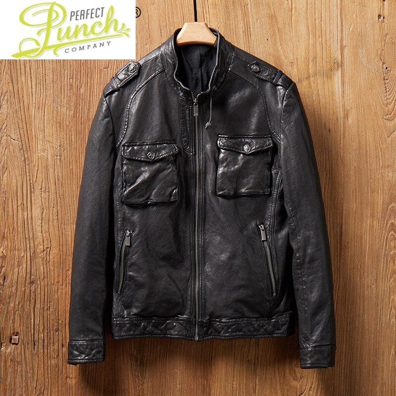 حقيقي الربيع سترة جلدية الرجال جلد الغنم معطف جلد دراجة نارية السائق سترة خمر سليم صالح MG2-k2122 KJ4427
