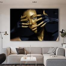 SELFLESSLY 아트 골든 소녀 포스터 초상화 그림 추상 검은 배경 캔버스 회화 거실 벽 장식 홈 장식