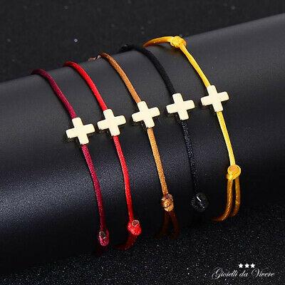 Bracelet prayer cross golden wire cord adjustable black Brown 99 S0515 sent from Italy