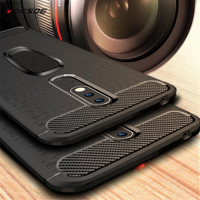 Carbon Fiber Fall Für Nokia 2,2 3,2 6,2 4,2 9 Pureview 7,1 3,1 5,1 6,1 7 Plus 6 2018X6X5X71 Telefon Fällen Ring Halter Abdeckung
