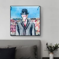 son of man graffiti art by rene magritte canvas posters and prints pop art canvas paintings street art for living room