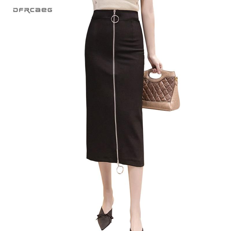 Faldas largas negras de talla grande para mujer con cremallera verano 2020 Falda de tubo Bodycon de cintura alta Sexy coreana ropa de oficina S-5xl