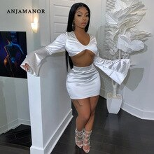 ANJAMANOR مثير قطعتين تنورة مجموعة أسود أبيض الحرير الحرير Bodycon نادي وتتسابق 2 قطعة المرأة مطابقة مجموعات الربيع 2020 D16-AE86