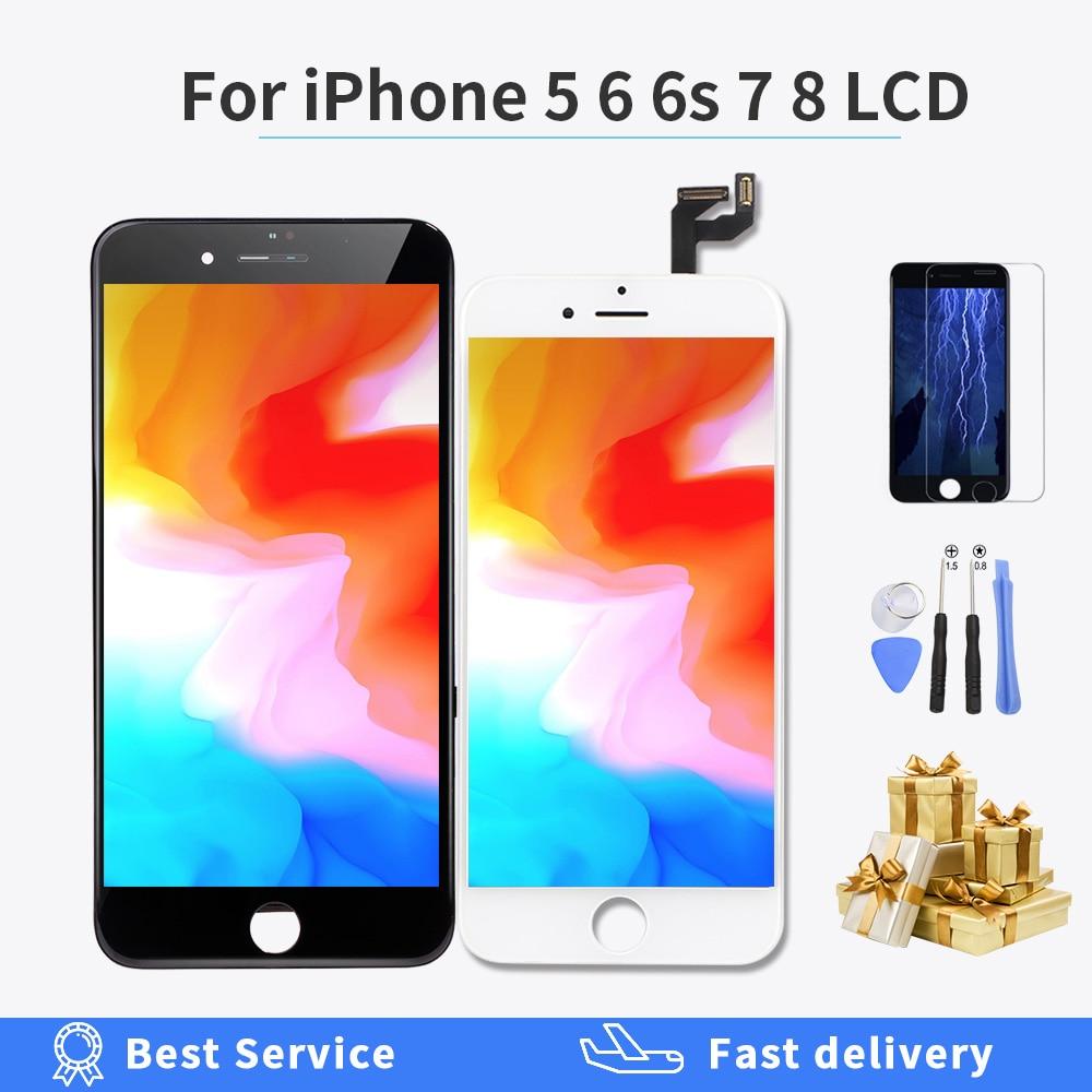 Retina display lcd para iphone 6 iphone 6s força da tela de toque digitador assembléia para iphone 7 8 5 display lcd grau aaaa lcd presente