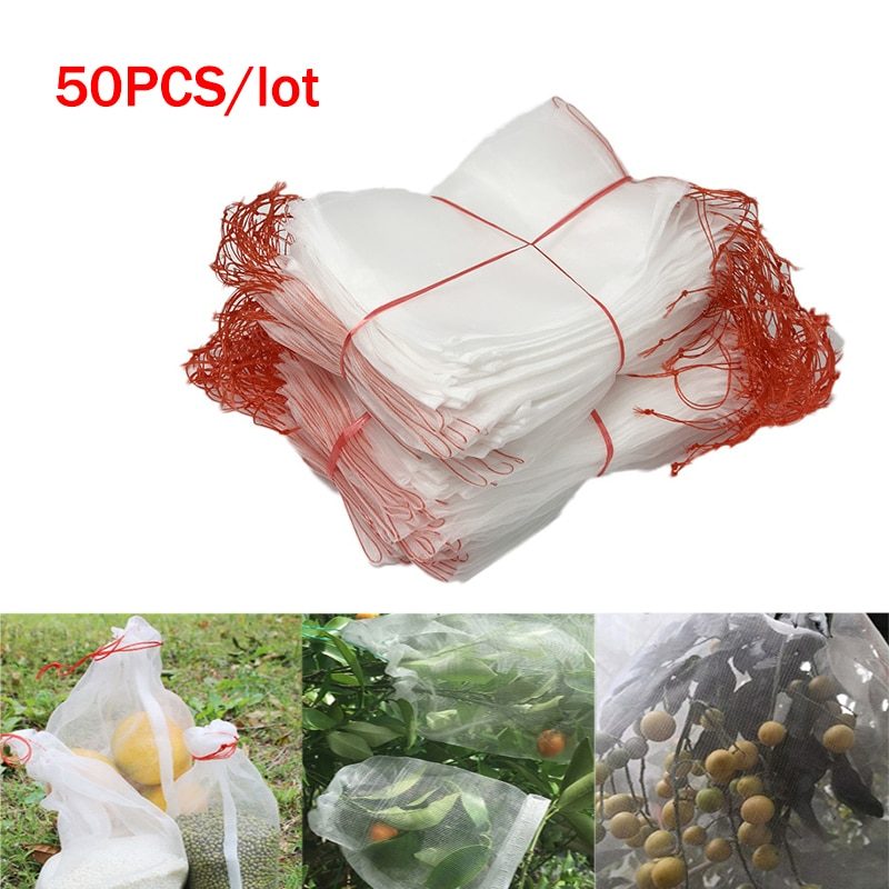 50PC Nylon Insect Mosquito Proof Net Bags Garden Fruit Barrier Cover Bag Grape Fig Flower Seed Vegetable Protection Garden Tool