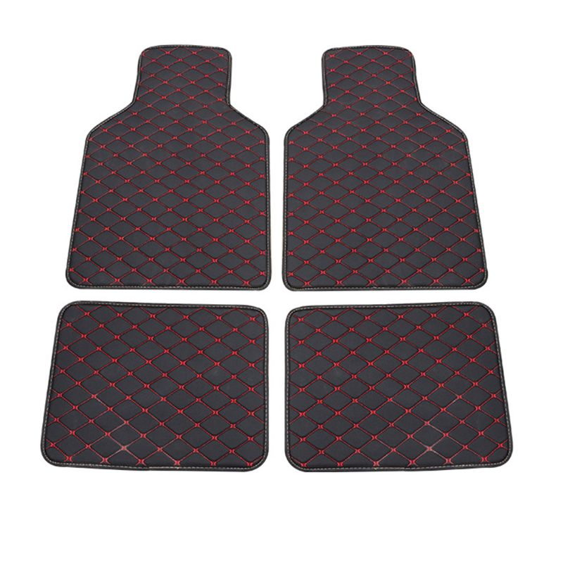 Universal Fit 4pcs PU Leather Car Floor Mat Waterproof Foot Pads Protector for Spills, Dog, Pets, Anti-Slip Front and Rear mats