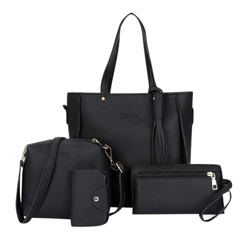 Mode Vier-stück Schulter Tasche Messenger Tasche Brieftasche Handtasche Frau Tasche Leder Durable Retro Schulter Tasche Sac Haupt Femme