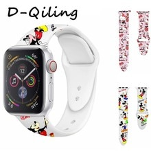 Olá kitty mickey silicone banda para apple watch 38 42 40 44mm impressão cinta substituível para iwatch série 4 3 2 1 pulseiras de relógio