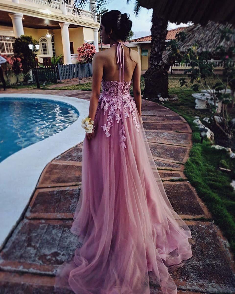 Frauen Halfter Prom Kleider Lange 2020 Appliques Backless High Neck Abendkleid Formale Kleid Robe Sirene Longue Gala Kleider