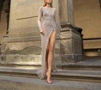 linglewei new spring and summer womens dress sequin split long sleeve round neck long dress