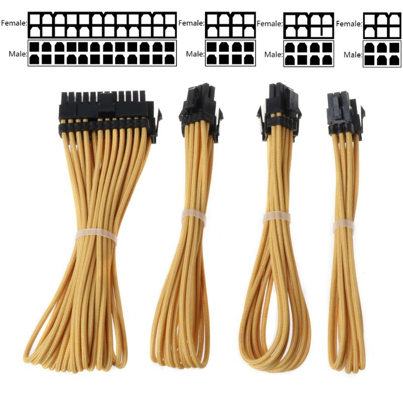 Kit de cabo de extensão básica 1pc 24 pinatx 1pc cpu 8pin 4 + 4pin 1 ppu 8pin 1 ppu 6pin pci-e cabo de alimentação para computador pc