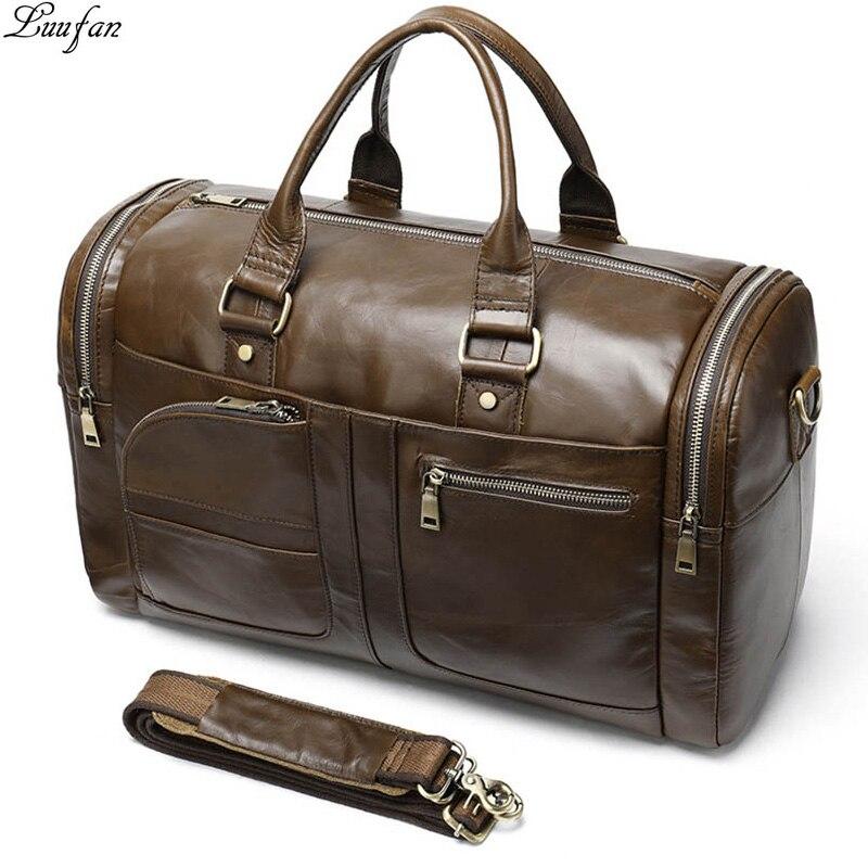 Genuine cow leather man duffel bag big capacity soft leather luggage travel bag business handbag for men women large weekend bag