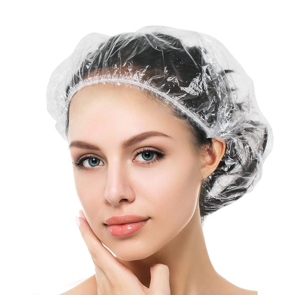 100 pcs Waterproof PE  Disposable Shower Caps  Barbershop Hotel Beauty Salon Hair Dressing Dyeing On