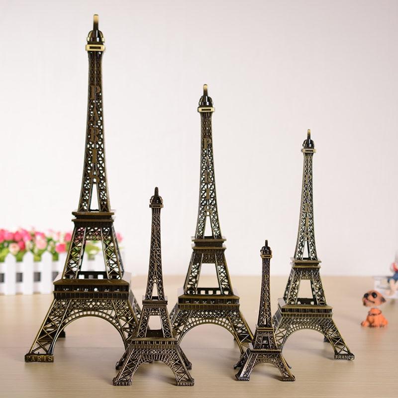 5cm-48cm Antiques Bronze Tone Curio Paris Tower Figurine Statue Metal Crafts Vintage Model Decor For Wedding Decoration