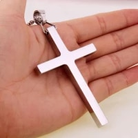 high quality simple silver color gold color stainless steel rock punk biker big cross mens pendant chain jewelry