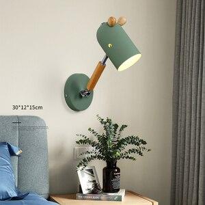 Nordic E27 LED wall lamp Macaron colors modern indoor bedside bedroom living room loft wall sconce light study kitchen decor