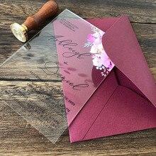 Invitations de mariage en acrylique transparent   Motif floral rose