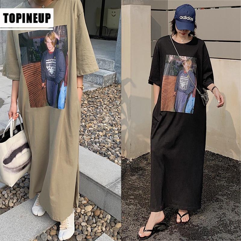 Plus size summer Chracters Print Korean Dress for Women New Casual  black Long Dress