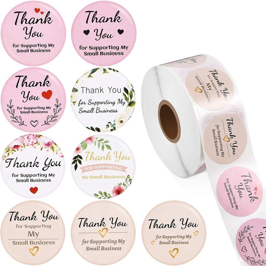 1 дюйм, 500 шт. спасибо за поддержку наклеек для моего малого бизнеса для упаковки в бизнес-Магазине, Подарочная декоративная наклейка ручной ...