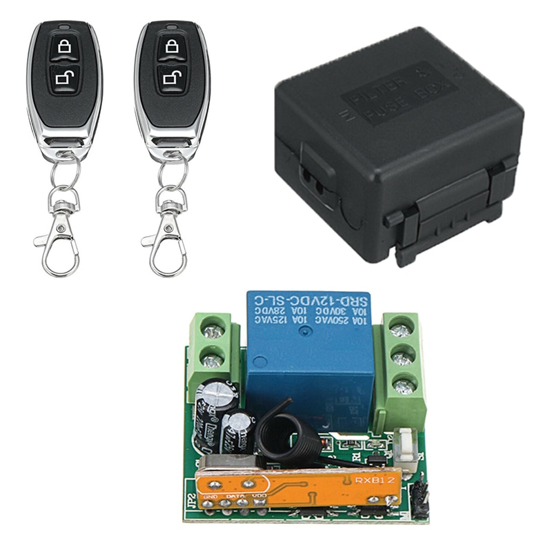 Cordless Remote Control Transmitter Kit Receiver Module Powered Battery Garage Gate Door Opener Controller Tools
