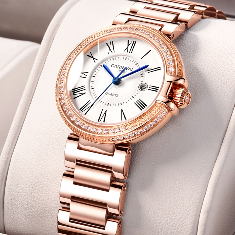 CARNIVAL Brand Ladies Rose Gold Watch Woman Luxury Waterproof Casual Bracelet Calendar Dress Quartz Wristwatch Relogio Feminino enlarge