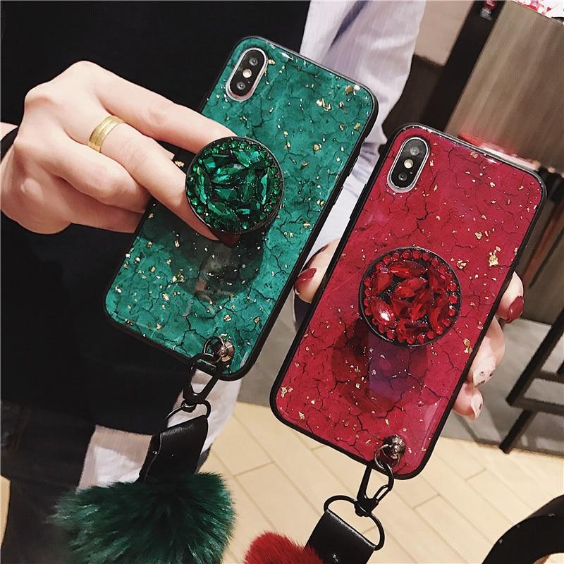 Marble Crack Gold Foil Phone Case For Xiaomi mi 9 se 8 lite cc9 A2 Lite A3 Ring Stand Holder Lanyard Cover Redmi Note 7 6 Pro 6A