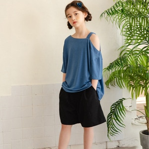 2021 Kids Girls Summer Casual Teens Clothes Sets Solid Short Sleeve T-shirt Tops And Shorts Outfit 2Pcs Set Casual Blue Black