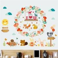 funny cartoon animal wall stickers for kids bedroom decoration nursery safari mural art diy home decals rabbit fox birds