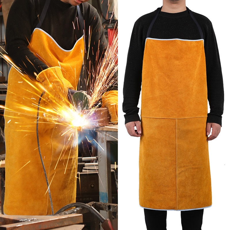 Aventais de couro de vaca soldagem proteção de isolamento térmico soldadores ferreiro carpinteiro segurança vestuário anti-escaldante avental
