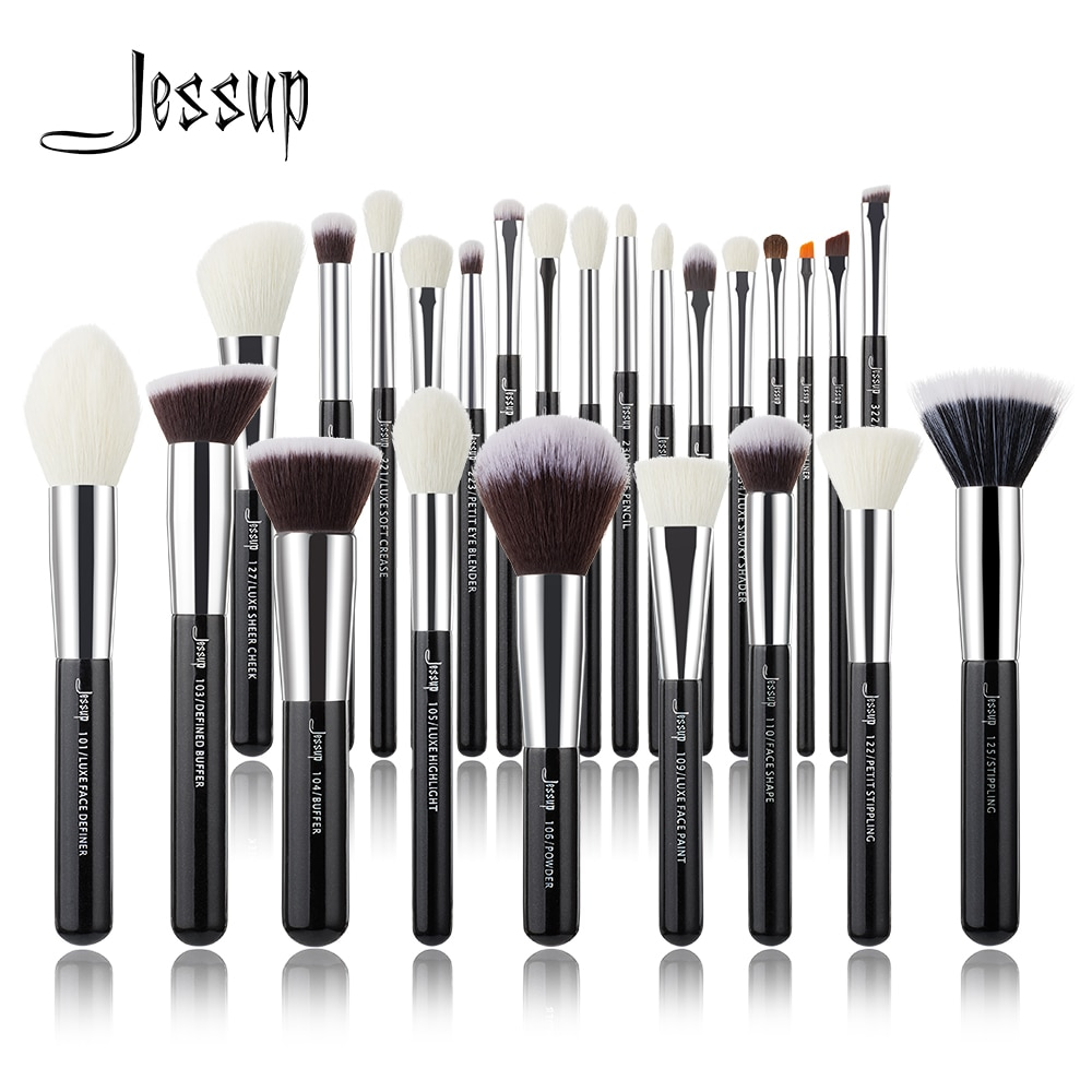 Juego de brochas de maquillaje Jessup negras y plateadas, brochas profesionales para base de pelo Natural, sombra de ojos, brocha para maquillaje, rubor, 6 uds-25 uds.