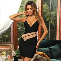 hollow see through 2021 new sexy high quality spaghetti straps stitching slim solid color black sexy dress club party reception