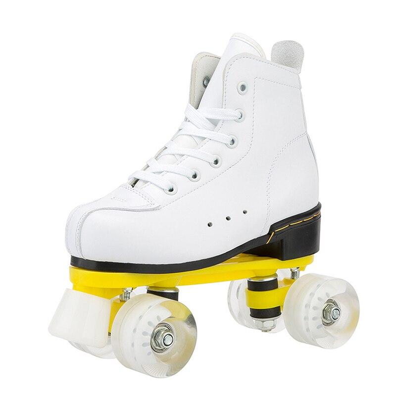 Роликовые коньки, двойные коньки, женские, мужские, взрослые, Двухлинейные коньки, обувь из 4 полиуретана с 4 колесами белого цвета