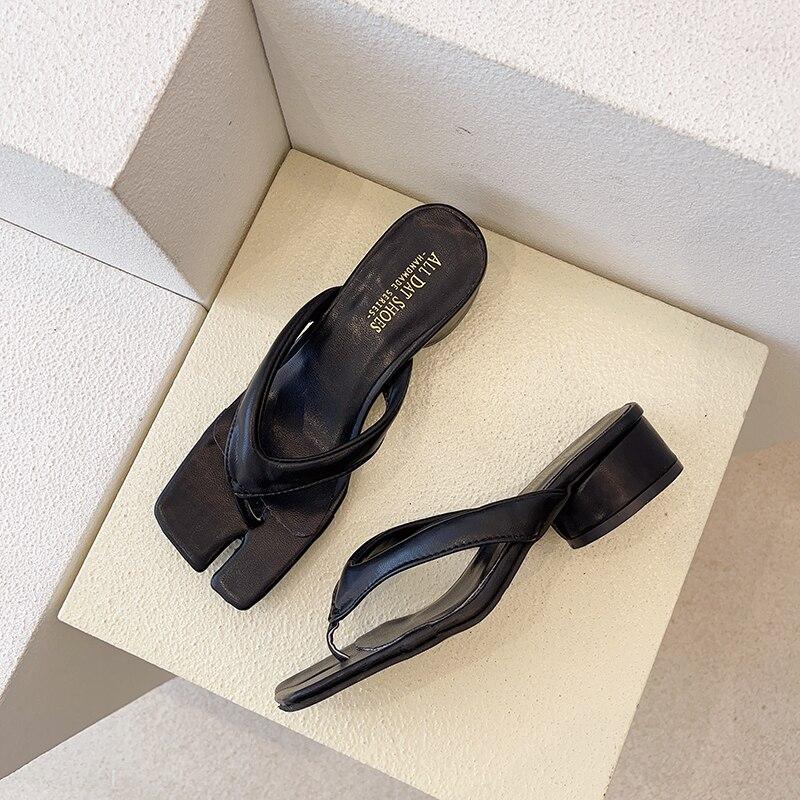 Ladies Sandals High Heel Summer Sandals Fashion Flip Flops Artificial Leather Outdoor Non-Slip Flip Flops 35-39 Wholesale